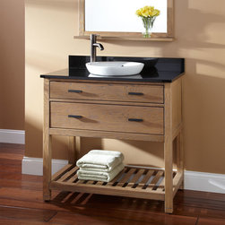 """36"""" Toby Vanity for Semi-Recessed Sink - Grant your bathroom extra storage with the 36"""" Toby Vanity, which has a lovely Weathered Oak finish and is crafted of solid hardwood. Towels and other essentials can be easily organized on the slatted lower shelf."""