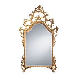 """Inviting Home - Italian Wall Mirror - Italian style hand-carved wall mirror in antiqued gold leaf finish 43""""W x 73-1/2""""H x 4"""" hand-crafted in Italy This elegant carved wood mirror is hand crafted in 18th century Italian style. Decorative wall mirror has floral design with graceful scrolls. This mirror is hand-crafted in Italy."""