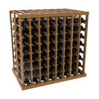 Double Deep Tasting Table Wine Rack Kit in Redwood with Oak Stain + Satin Finish - The quintessential wine cellar island; this wooden wine rack is a perfect way to create discrete wine storage in open floor space. With an emphasis on customization, install LEDs or add a culinary grade Butcher's Block top to create intimate wine tasting settings. We build this rack to our industry leading standards and your satisfaction is guaranteed.
