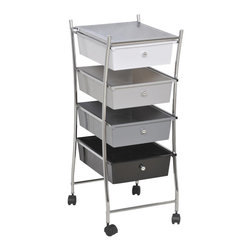 Rolling Storage Cart / 4 Drawers White/ Grey /Black - This rolling storage cart is metal and has a chrome finished frame. Great for a simple storage solution at home or as a mobile carrying case for essentials in your bathroom, this storage cart has four large plastic drawers which offer generous storing space. Drawers are of white, grey and black. An ingenious system that prevents the drawers from pushing through the back and also from falling. Four smooth-rolling casters allow you to move this cart around the room or bathroom as needed. Usable top shelf provides additional storage. This elegantly-designed storage cart is easy to assemble with the included hardware. Clean with warm soapy water. Length 16-Inch, width 12.8-Inch and height 31.5-Inch. Color black, grey and white. It's an easy and elegant way to maximize your bathroom's available space while providing functional storage and shelving for all your necessities. Give a decorative touch to your bathroom with this multi colored rolling storage cart! Imported.