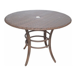 Panama Jack - Panama Jack Key Biscayne Woven 42-inch Round Dining Table - Supported by a rust-free aluminum frame and featuring a handwoven synthetic wicker construction,this Panama Jack Key Biscayne dining table offers a sturdy,lasting design that requires minimal maintenance.