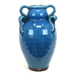 Urban Trends Collection - 14 in. Turquoise Tuscan Ceramic Vase - 8 in. W x 8 in. L x 14 in. H