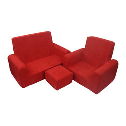 Fun Furnishings - Fun Furnishing Sofa Chair and Ottoman Set Red Micro - The toddler sofa, chair and ottoman set is a comfy place for toddlers to play and visit with friends. Kids will love the light weight, yet firm and comfy, all foam construction. Littile hands can move the set easiliy from room to room to have their very own seating! The removeable slip covers make this easy care for mom! Comfortable, durable and roomy, this seating set is sure to last and be a favorite for years to come. Measurements: Sofa 30W x 15.75D x 19.50H seat 22.50W x 11D, 5.75  to the floor seat back 14.50. Chair 21W x 16D x 19.50H seat 13.75W x 11D 5.75 to the floor seat back 14.50 Ottoman 9.75 x 9.75 x 6H my seat meas