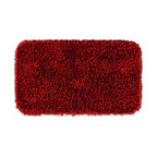 None - Quincy Super Shaggy Red Hot Washable Runner Bath Rug - Jazz up the bathroom, shower room, or spa with bright notes of color and comfort with the Quincy Super Shaggy bathroom collection. This red rug is machine washable and backed with skid-resistant latex for safety.
