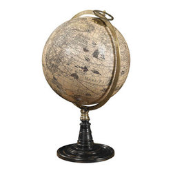 "Old World Globe Stand - The old world globe stand measures 14.25 x 21.65"". A classic globe stand with a 17th C. Hondius globe. It features a hand-rubbed and French finished rosewood stand. The Old World at your fingertips... Emblematic of 17th C. science. Uniting precious bronze with hardwood and hand applied paper gores on a papier-mache core. Legendary cartographer, Jodocus Hondius, worked in Amsterdam during the 1600s, then one of the world's commercial hubs. Galleons sailing oceans to the farthest corners of the then known world. Exotic cultures, languages, people and goods to be traded, bought and sold. Gold and ivory, spices and silks. Spin the world and enjoy a touch of true history."