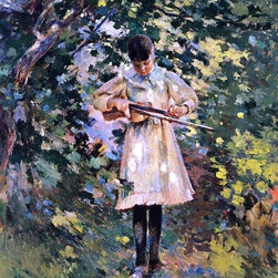 """Theodore Robinson The Young Violinist (Margaret Perry)  Print - 16"""" x 20"""" Theodore Robinson The Young Violinist (also known as Margaret Perry) premium archival print reproduced to meet museum quality standards. Our museum quality archival prints are produced using high-precision print technology for a more accurate reproduction printed on high quality, heavyweight matte presentation paper with fade-resistant, archival inks. Our progressive business model allows us to offer works of art to you at the best wholesale pricing, significantly less than art gallery prices, affordable to all. This line of artwork is produced with extra white border space (if you choose to have it framed, for your framer to work with to frame properly or utilize a larger mat and/or frame).  We present a comprehensive collection of exceptional art reproductions byTheodore Robinson."""