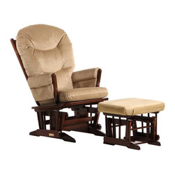 Dutailier - 2 Post Glider and Ottoman Set in Light Brown - Matching gliding ottoman included. Dutailier's exclusive gliding system with top quality sealed ball bearings. Hardwood frame in coffee finish. Removable foam cushions and padded arms. 100% Polyester Microfiber Fabric in Light Brown. Easy to assemble. Glider: 26 in. W x 31 in. D x 43 in. H. Ottoman: 20 in. W x 18 in. D x 14.75 in. HThis Two Post glider and ottoman combo offers an exceptionally smooth and extra long glide motion with thick cushions and padded arms. It will be the perfect addition to your childs nursery or living room. There are no sharp edges, the finish is toxic free and this product meets all safety standards.