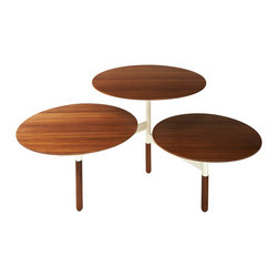 Blu Dot - Blu Dot Lily Pad Coffee Table - Three is not a crowd.  Walnut and powder-coated steel give you the perfect coffee table for your pad.