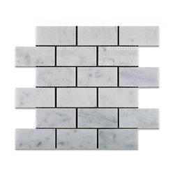 "Tiles R Us - Carrara White Marble Honed 2X4 Subway Brick Mosaic Tile, 1 Sq. Ft. - - Italian Carrara White Marble 2"" X 4"" Honed (Matte Finish) Subway Brick Mosaic Tile."