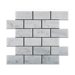 "Tiles R Us - Carrara White Marble Honed 2X4 Subway Brick Mosaic Tile, 1 Sq. Ft. - - Italian Carrara White Marble 2"" X 4"" Honed (Matte Finish) Subway Brick Mosaic Tile."