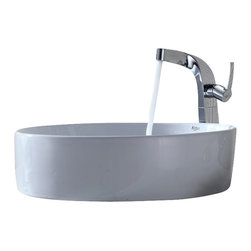 Kraus - Kraus White Round Ceramic Sink and Typhon Faucet - Add a touch of elegance to your bathroom with a ceramic sink combo from Kraus.