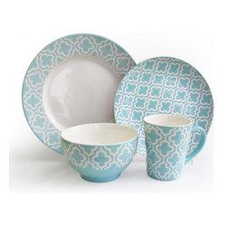 American Atelier Quatre Teal 16-piece Dinnerware Set -