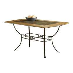 Hillsdale - Hillsdale Lakeview Rectangle Dining Table - Hillsdale - Dining Tables - 4264DTBRT - Rustic textures and colors combine to create Hillsdale Furniture's Lakeview dining collection. Boasting a striking fusion of medium oak wood coppery brown metal and a dynamic slate inlay in the center of the table this group also features many options to customize your own ensemble from a wood top chair or baker rack to a slate topped chair or baker rack with a diamond motif and a rectangle rounded edge or round table. Boasting easy to maintain and versatile brown faux leather seats a pretty scrolled chair and a rounded table bases with corresponding slate accents. This unusual ensemble also includes a coordinating sideboard or wine bar and matching 360 degree swivel bar and counter stools. Composed of heavy gauge tubular steel solid wood edges climate controlled wood composites and veneers this unique group is a perfect addition to your home.