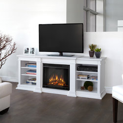 """Real Flame - Fresno 72"""" TV Stand with Electric Fireplace - Enjoy the beauty of a Real Flame Electric fireplace, this substantial freestanding fireplace also doubles as an entertainment center. This unit is able to hold a television of 100 lbs or less and has adjustable shelving to accommodate most electronics. The Vivid Flame Electric Firebox plugs into any standard outlet for convenient set up. The features include remote control, programmable thermostat, timer function, brightness settings and ultra bright Vivid Flame LED technology. Features: -Fireplace includes mantel, firebox, remote control, and screen..-Distressed: No.-Collection: Fresno.-Recommended TV Type: Flat screen.-Powder Coated Finish: No.-Gloss Finish: Yes.-Material: Solid wood and veneered MDF construction.-Number of Items Included: 1.-Solid Wood Construction: No.-Exterior Shelves: No.-Drawers: No.-Cabinets: No.-Scratch Resistant : No.-Removable Back Panel: No.-Hardware Finish: Stainless steel hardware.-Casters: No.-Accommodates Fireplace: Yes.-Fireplace Included: Yes -Fireplace Type: Electric.-Firebox Construction: Powder-coated stainless steel.-Functional Fireplace: Yes.-Optional Fireplace Heat: Yes.-BTU Output: 4700 BTUs.-Wattage Output: 1400 W.-Power Requirement: 120V-60 Hz.-Ampere Requirement: 11.7 amp.-Electric Flame Type: Fireplace insert has LED display.-Space Heating Capacity: Heats up to 100 square feet.-Adjustable Temperature: Yes.-Adjustable Flame: Yes.-Flickering Flame Effect: Yes.-Thermal Overload Protection: Yes.-Timer Function: Yes.-Heat Proof Glass: Yes..-Lighted: No.-Media Player Storage: No.-Media Storage: No.-Cable Management: Product has a hole for wire management..-Remote Control Included: Yes.-Batteries Required: Yes -Battery Type: 1 CR2025 lithium battery required.-Batteries Included: Yes..-Weight Capacity: 100 lbs.-Swatch Available: No.-Commercial Use: Yes.-Eco-Friendly: No.-Recycled Content: No.-Lift Mechanism: No.-Expandable: No.-TV Swivel Base: No.-Integrated Flat Screen """