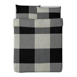 Monika Mulder - BRUNKRISSLA Duvet cover and pillowcase(s) - Duvet cover and pillowcase(s), black, gray