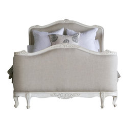 Eloquence Inc - Sophia Bed by Eloquence, Antique White, King - Beautiful Queen Sophia Bed by Eloquence, made in the classic Louis XV Corbeille style. Beautifully hand finished in Old Cream and tufted in Lovely Fog Linen fabric. King size available as well. Also available in Silver Two-Tone, Gold Two-Tone, and Weathered White finishes.