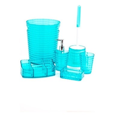 Gedy - Turquoise 6 Piece Bathroom Accessory Set - Need a bathroom accessory set? This one is a free-standing contemporary & modern bathroom accessory set that will fit perfectly into your contemporary bathroom.