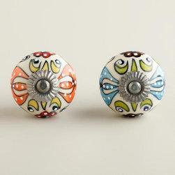 Embossed Floral Ceramic Knobs, Set of 2 -