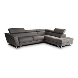 Nicoletti - Nicoletti Grey Italian Leather Sparta Sectional Sofa with Right Facing Chaise - The Nicoletti Sparta Sectional is a truly lovely modern sofa that will compliment any contemporary home. This great new product features top grain genuine Italian leather in Grey, stainless steel legs, adjustable head rest and ratchet mechanism.