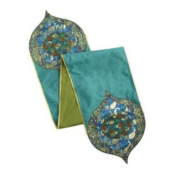 Emerald Brocade Table Runner - A runner is one of the easiest ways to dress up a table. Use this brocade for those days when dinner prep calls for a special element.