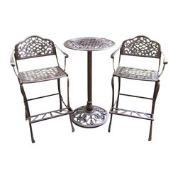 Oakland Living - Oakland Living Mississippi 3-Piece Bar Set in Antique Bronze - Oakland Living - Pub Sets - 2008AB - About this product: