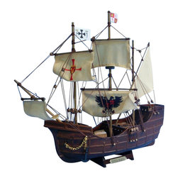 "Handcrafted Model Ships - Santa Maria with Embroidery 14"" - Wooden Tall Model Ship - Sold Fully Assembled. Ready for Immediate Display - Not a Model Ship kit Inspired by the USS Constitution the oldest and most famous ship in the U. S. Navy still sailing today, these adorable tall ships models of Old Ironsides rests easily upon any desk or shelf. Add a touch of nautical history to the decor of any room with this tall model ship. 15 inch Long x 2 inch Wide x 12 inch High (1:175 scale)."