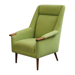 "Tall Back Danish Upholstered Vintage Lounge Chair - Glorious n' green, this Danish Mid-Century Modern tall back lounge chair was recently upholstered in a fresh spring green, with teak legs and arms.  Tie back and tie seat upholstery.  Has a matching 'HIS' chair available.  Seat height measures 15""."