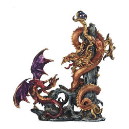 GSC - 15 Inch Two Dragons Fighting Over Orb Statue - This gorgeous 15 Inch Two Dragons Fighting Over Orb Statue has the finest details and highest quality you will find anywhere! 15 Inch Two Dragons Fighting Over Orb Statue is truly remarkable.