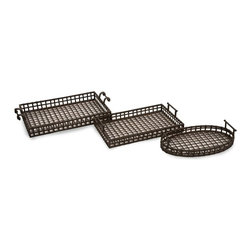 "IMAX CORPORATION - Urban Iron Trays - Set of 3 - Unique, transitional set of 3 iron trays.Part of the Urban Iron Collection featuring woven iron in a lattice pattern, these Urban iron trays have a rust vintage finish. Set of 3 in various sizes measuring around 31""L x 16.5""W x 15.5""H each. Shop home furnishings, decor, and accessories from Posh Urban Furnishings. Beautiful, stylish furniture and decor that will brighten your home instantly. Shop modern, traditional, vintage, and world designs."