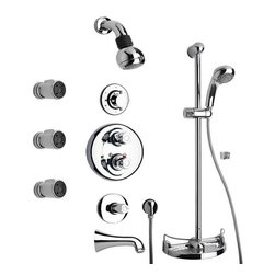 La Toscana - La Toscana Water Harmony SHOWER8CP Shower System 8 - 762540 - Shop for Shower Arms and Extensions from Hayneedle.com! Completely redesign your daily routine thanks to the La Toscana Water Harmony SHOWER8CP Shower System 8. This sturdy set contains everything you need to overhaul your bathroom decor aside from walls and a tub. The elegant curves of its fine Italian design are brought to life using sturdy solid brass and come protected from rust scratches corrosion and tarnish thanks to a polished chrome finish. A vertical slide bar serves as the centerpiece of the design featuring a basket bottom that serves a soap-dish and storage area for toiletries. A hand-held shower head (with a comfortable handle and wide spray-face) connects to your plumbing with a 78inch flexible hose attached to the slide bar by a mounting bracket that allows users to adjust both the angle and height of the spray. A wall-mounted shower head is also included boasting a downturned spout and wide spray face with a powerful yet gentle output. A tub spout services your basin filling any sized tub in hardly any time at all. A set of three body jets are included mounting directly into the wall to provide a convenient side-shower. A thermostatic valve prevents sudden scalds and lets you choose your desired temperature mix only using the knob handle to make slight adjustments. A three-way diverter is included to allow you to direct the water flow between spouts. Flow-pressure and on/off are both controlled by a volume knob-handle. The unit installs easily into nearly any standard US plumbing fixtures. Drain assembly is not included.Product Specification:Country of Origin: ItalyADA Compliant: NoInstallation Type: Wall MountNumber of Handles: 3Handle Style: KnobFlow Rate: 2.5GPMValve Included: YesOverall Height: 10.0 inchesAbout La Toscana by PainiLa Toscana creates faucets bath vanities and accessories in a wide range of styles. From elegant and traditional to sleek and modern they have a