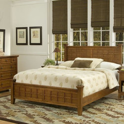 HomeStyles - 3-Pc Poster Bedroom Set - Includes queen bed, nightstand and chest. Lattice moldings. Slightly flared legs. Brushed nickel hardware. Top of the hidden pull-out tray with scratch and stain resistant finish. Top storage drawer of chest is lined with black felt. Made from Asian hardwood and veneer. Cottage oak finish. Made in Thailand. Bed: 64.25 in. L x 90 in. W x 48.5 in. H. Nightstand: 18 in. W x 16 in. D x 24 in. H. Chest: 36 in. W x 16 in. D x 36 in. H. Bed Assembly Instructions. Nightstand Assembly Instructions. Chest Assembly InstructionsArts and crafts queen bed and night stand are mission styling at its best! The arts and crafts queen poster bed embellishes typical mission styling with raised wood. This beds simplistic yet detailed design makes it an ideal piece for any bedroom setting. This night stands simplistic yet detailed design makes it an ideal piece for any bedroom setting.