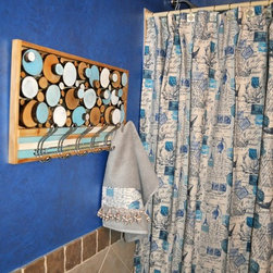 Bathroom decor - This standard size shower curtain 72x72 made of Premier Prints Amore cotton drapery fabric in blue natural colors.