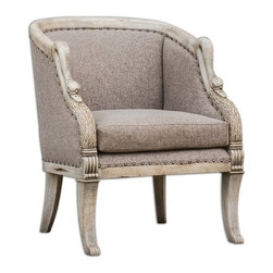 """Uttermost - Matthew Williams Swaun Traditional Armchair - Hand carved details in antique bone finished solid mango wood with woven, Vienna chocolate tailoring and dark brass accent nails. Seat height is 19""""."""