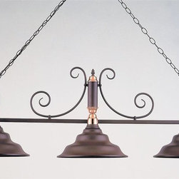Hi-Lite MFG - 54 in. 3-Bulb Billiard Light w 3 ft. Chain (Rust/Polished Copper) - Finish: Rust/Polished CopperIncludes 3 ft. chain and 7 ft. wire. 3 100W/120V light bulb (not included). UL listed. Made from steel and Copper. Pictured in Rust & Polished Copper. 54 in. L x 14 in. W  x 18 in. H
