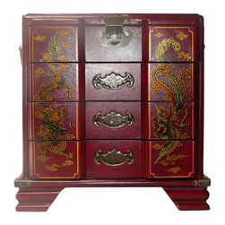 Golden Lotus - Chinese Red Phoenix Dragon Mirror Drawers Storage Box - This jewelry / storage accent box is modified from the traditional Chinese box. It is made of cardboard paper and covered with artificial leather.