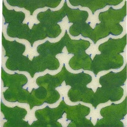 "Knobco - Tiles 4x4"", White design on green - White design on green tile from Jaipur, India. Unique, hand painted tiles for your kitchen or other tiling project. Tile is 4x4"" in size."