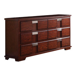 Coaster - Coaster Hyland Six Drawer Dresser - Coaster - Dressers - 202243 - You can give your bedroom a clean casual and complete look by adding this dresser. The dresser carries a beautiful dark cherry finish and features sleek lines as well as brushed metal drawer handles for a beautiful contrasting look. In addition the six drawers are wonderful for keeping sweaters jeans blankets bedsheets and towels.