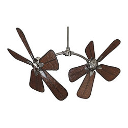 "Fanimation - Tropical 52"" Fanimation The Caruso Pewter and Bamboo Ceiling Fan - The Caruso ceiling fan from Fanimation offers cool design at every angle. This distinctive fan features adjustable motor heads to provide five angles of blade tilting design from vertical to 60° in 15° increments. Pewter motor finish with woven bamboo standard oar blades. Includes a 24"" downrod and 2-speed wall control unit. Fan must be secured to a structural member such as a ceiling joist capable of withstanding a load of at least 100 lbs. Pewter motor finish. Woven bamboo blades. 52"" blade span. 18 degree blade pitch. Includes wall control. Powerful twin 188 x 25 motors. 24"" downrod included. 52"" high (with 24"" downrod). Minimum 12' ceiling height with included 24"" downrod for vertical blade rotation. Limited lifetime motor warranty. (ON UM)  Pewter motor finish.  Woven bamboo blades.  52"" blade span.  18 degree blade pitch.  Includes wall control.  Powerful twin 188 x 25 motors.  24"" downrod included.  52"" high (with 24"" downrod).  Minimum 12' ceiling height with included downrod for vertical blade rotation.  Limited lifetime motor warranty."