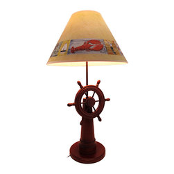 Zeckos - Wooden Ship's Wheel Table Lamp with Nautical Shade - This beautiful wooden ship's wheel table lamp is the perfect accent to rooms with a beach or nautical theme. It measures 30 inches tall, has an 8 inch diameter base, and comes with a coordinating 16 inch diameter shade featuring things you might find along the coast, such as sailboats, seagulls, and lobsters. The lamp uses a 75 watt (max) type A bulb (not included), and has a black 4 foot long power cord. It makes a lovely gift that is sure to be admired.