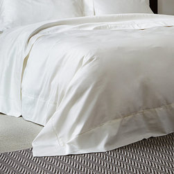 Frontgate - Frette Single Ajour Duvet Cover - 100% Egyptian cotton sateen. Artfully detailed by master Italian weavers in the tradition of fine Italian linens. Machine wash, tumble dry low. Our versatile Single Ajour Bedding Collection from Frette offers a charmingly simple, almost vintage appeal. The smooth, soft Egyptian cotton sateen features a single open hemstitch border. This sublimely refined bedding seamlessly blends with a range of decors and styles.  .  .  . Made in Italy.