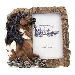 """PS - 7 Inch Rock Design with Rearing Pinto Horse 4 x 6"""" Photo Frame - This gorgeous 7 Inch Rock Design with Rearing Pinto Horse 4 x 6"""" Photo Frame has the finest details and highest quality you will find anywhere! 7 Inch Rock Design with Rearing Pinto Horse 4 x 6"""" Photo Frame is truly remarkable."""