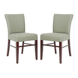 Safavieh - Monty Side Chair - Clean and tailored, the Monty side chair is classic cut. With a slightly tapered back rest, pure linen fabric, shown in sea mist, and delicate legs with a cherry mahogany finish, Monty makes an elegant statement.