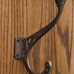 Solid Bronze Ornate Double Coat Hook - The perfect place to hang up your hat and coat, the Solid Bronze Ornate Double Coat Hook has a universal look for any style home.
