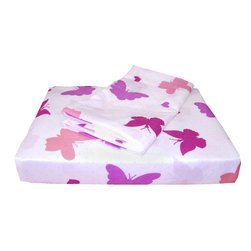Country Club Products - Butterfly Hearts White Bedding Twin-Single Bed Sheet Set - Features: