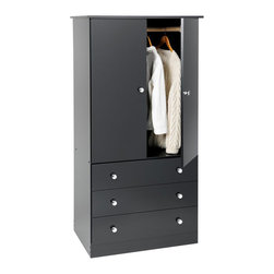 Prepac - Prepac Black Edenvale 30 Inch 3-Drawer Junior Wardrobe - Say goodbye to your overcrowded closet with the Edenvale 3 Drawer Wardrobe. With three full-sized drawers, a two-door cabinet and a hanging rod, this wardrobe is your all-in-one storage solution. Its clean, minimalist style makes it an easy addition to any small bedroom. So don't clutter up your bedroom, keep it simple with this efficient and affordable wardrobe. Complete the look with other pieces in the Edenvale Bedroom Collection!
