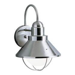 Kichler - Seaside Brushed Steel Dark Sky Outdoor Wall Light - Sleek, seaside charm radiates from this outdoor fixture.  - Brushed Nickel finish and is Dark Skies compliant.  The height from the center of the outlet box is 6?.  Please note the white globe pictured is the bulb, not glass. Kichler - 9022NI