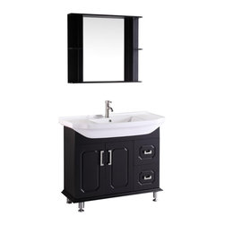 "Vanova - Vanova VA106-39B Cabinet, Basin & Mirror Black Vanity - Our stylish floor standing all wood vanity includes a white ceramic top with an integrated rectangular sink. Soft closing doors and two right sided drawers with matching mirror.  Color: Black, Vanity: 39""W x 20""D x 33""H, Mirror: 31.5""W x 27.5""H, Includes: Cabinet-Basin & Mirror, Hardware: Soft-closing doors and drawers, Faucet & drain not included"