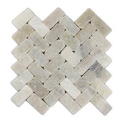 CNK Tile - Mixed Quartz Herringbone Stone Mosaic Tile - Usage: