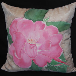 Hand painted silk pillow sham - I painted this knock out rose inspired by nature. Soft pink flower with green leaves on the light brown background.