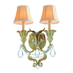 Crystorama Lighting Group - Crystorama Lighting Group 6702 Voltaire 2 Light Double Wall Sconce - Two Light 24 Percent Lead Crystal Wrought Iron Handpainted Wall SconceRequires 2 60w Candelabra Bulbs (Not Included)